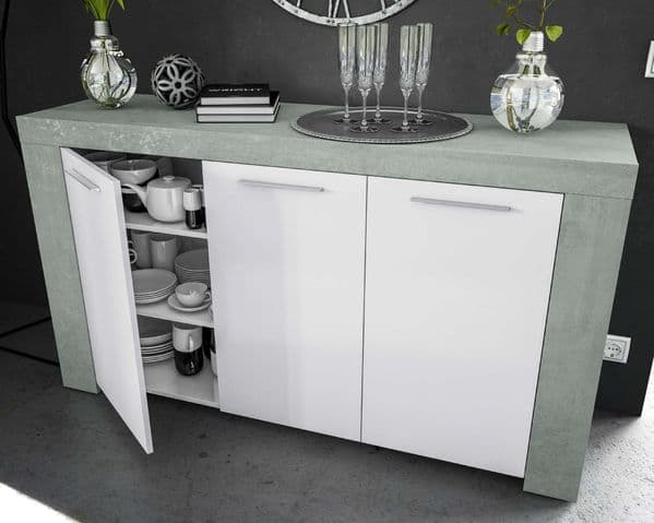 Cubo Grey and White Sideboard - SALE at FurnitureFactor